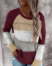 Red Loose fashion color striped round neck pullover ladies sweater
