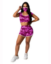 Rose red Camouflage round neck hood fashion home sports shorts suit (including mask)
