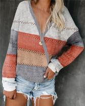 Gray Loose fashion color striped v-neck pullover sweater