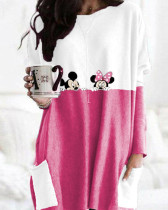 Pink Crew Neck Long Sleeve Pullover