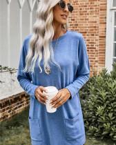 Blue Crew Neck Pullover Sweatshirt