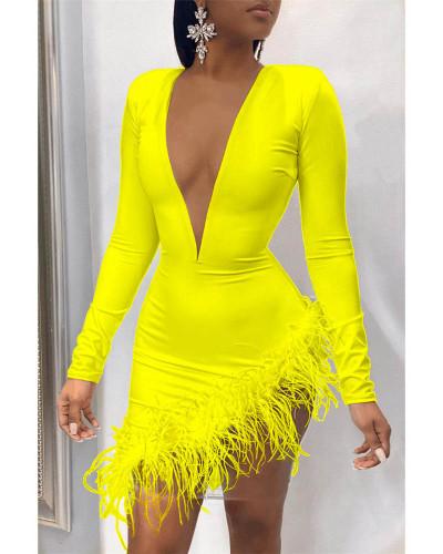 Yellow Feather mesh stitching sexy dress
