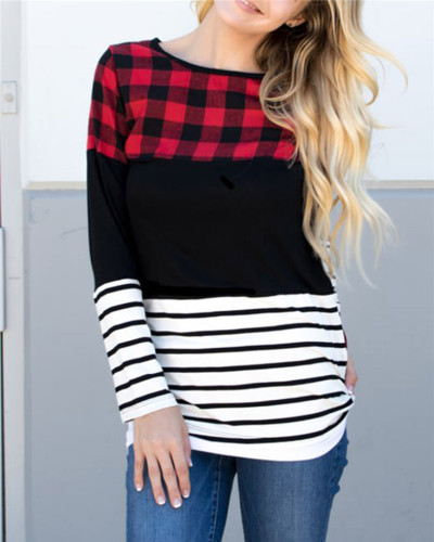 Wind round neck long sleeve ladies blouse