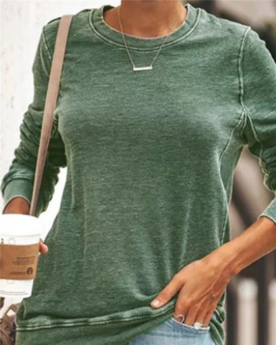 Green Long sleeve round neck ladies sweater