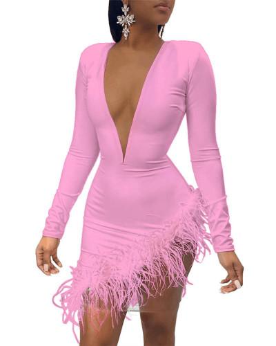 Pink Feather mesh stitching sexy dress