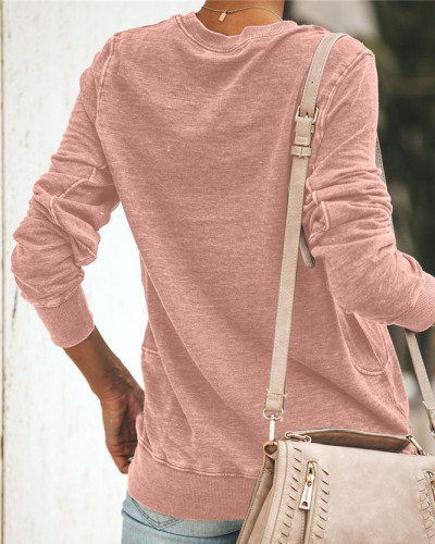 Pink Long sleeve round neck ladies sweater