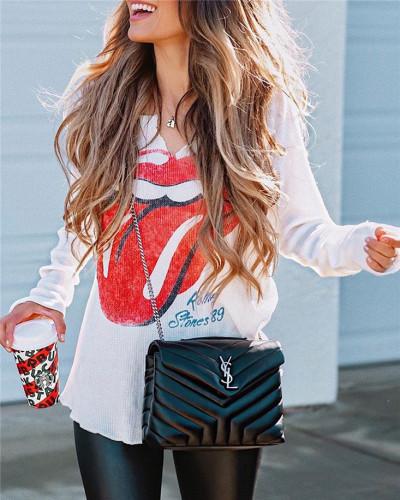 Long sleeve cartoon lip print v-neck print ladies pullover sweater