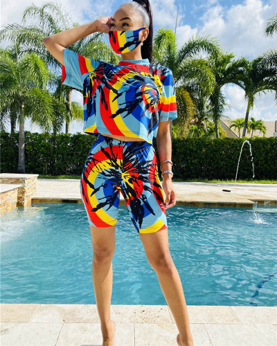 Yellow Tie-dyed round neck casual fashion home sports shorts suit (including mask)