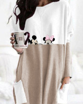 Khaki Crew Neck Long Sleeve Pullover