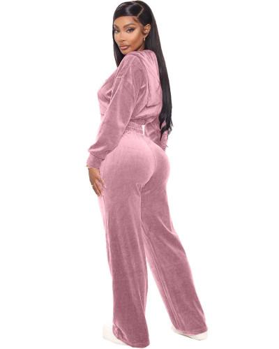 Pink Korean velvet zipper coat straight pants suit