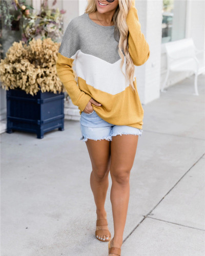 Yellow Patchwork round neck long-sleeved sweater pullover