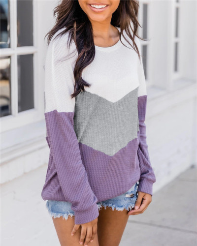 Purple Patchwork round neck long-sleeved sweater pullover