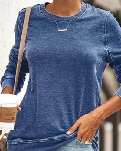 Blue Long sleeve round neck ladies sweater