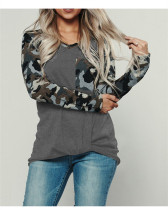 Dark Gray Camouflage crew neck pullover sweater