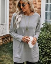 Gray Crew Neck Pullover Sweatshirt