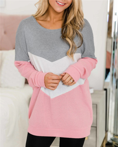 Pink Patchwork round neck long-sleeved sweater pullover