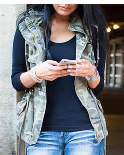 Sleeveless Zip Slim Fashion Ladies Jacket