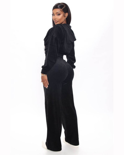 Black Korean velvet zipper coat straight pants suit