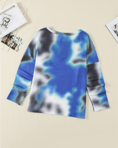 Blue Loose long sleeve v-neck sweater pullover