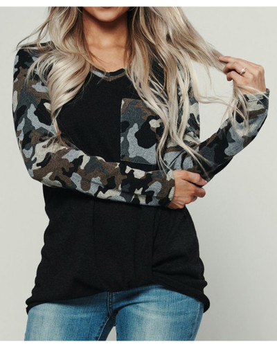 Black Camouflage crew neck pullover sweater