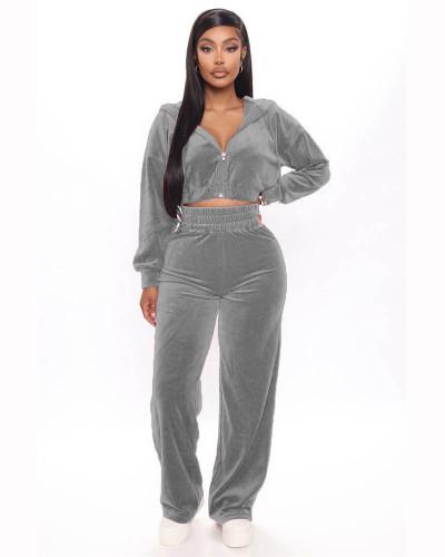 Gray Korean velvet zipper coat straight pants suit