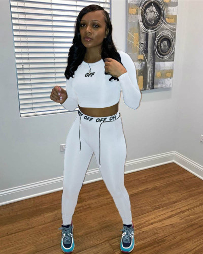 White Personalized printed drawstring body sculpting sports two-piece suit
