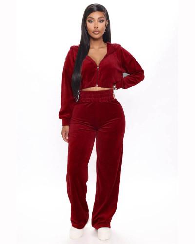 Red Korean velvet zipper coat straight pants suit