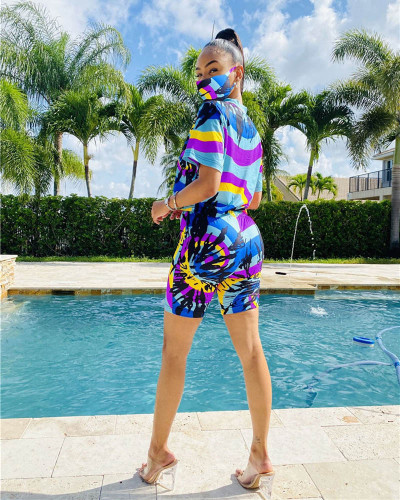 Violet Tie-dyed round neck casual fashion home sports shorts suit (including mask)