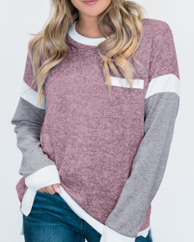 Pink Round neck long sleeve ladies pullover sweater