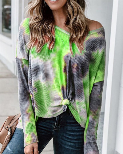 Green Loose long sleeve v-neck sweater pullover