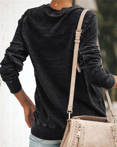 Black Long sleeve round neck ladies sweater