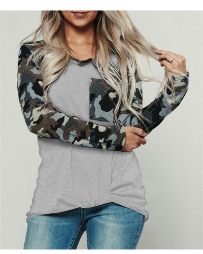 Light Gray Camouflage crew neck pullover sweater
