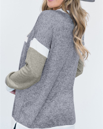 Gray Round neck long sleeve ladies pullover sweater