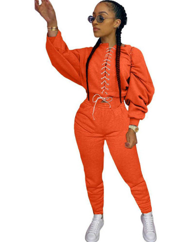 Orange Casual strappy sweater suit