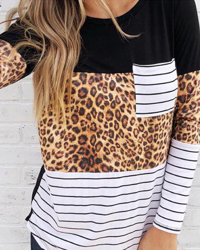 Black Street style round neck long sleeve ladies blouse