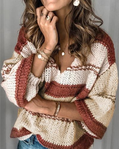Red Nine-sleeve casual women's sweater