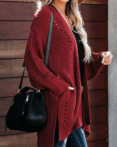 Red Solid color coat loose sweater coat