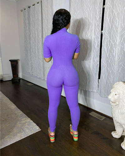 Violet Sexy big pit striped jumpsuit tights