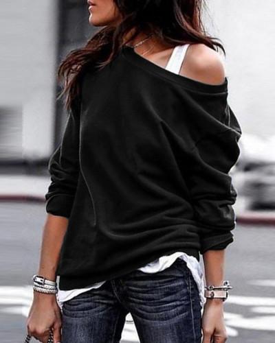 Black Single side off-shoulder pullover round neck pullover sweater
