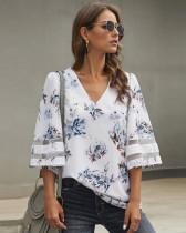 White Short sleeve V-neck pullover shirt