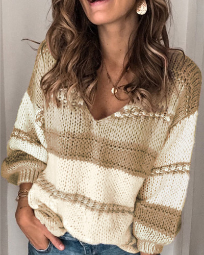 Khaki Nine-sleeve casual women's sweater