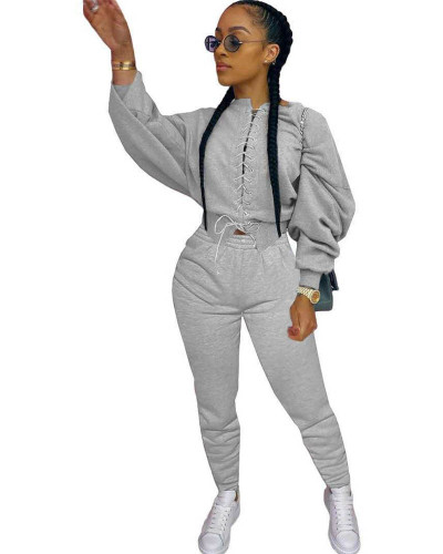 Gray Casual strappy sweater suit