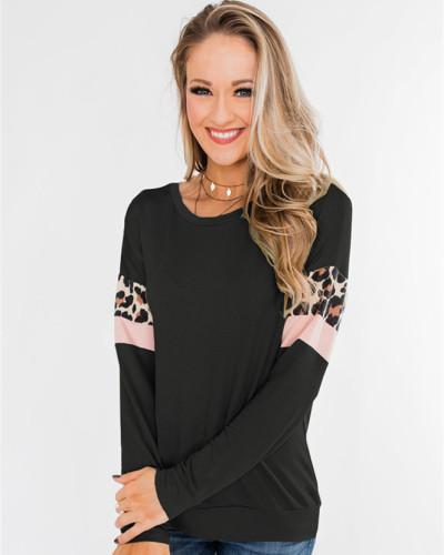 Black Stitching street style round neck long sleeve ladies top