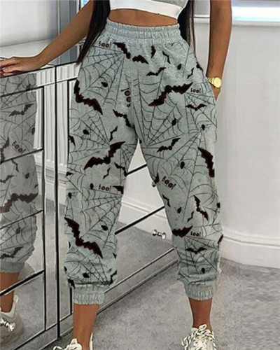 Gray Printed loose cropped trousers with drawstring pants