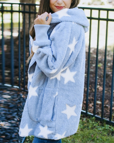 Sky Blue Printed double-faced fleece hooded loose women's top