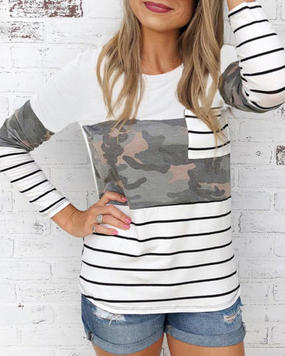 White Street style round neck long sleeve ladies blouse