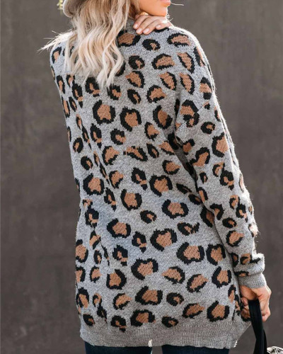 Leopard print women's knitted cardigan mid-length