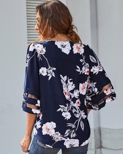 Blue Short sleeve V-neck pullover shirt