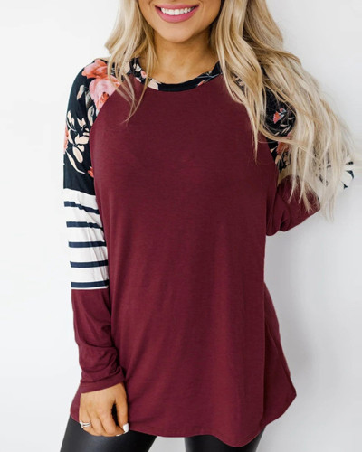 Red Loose round neck long sleeve pullover sweater