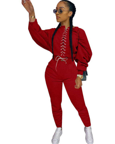 Red Casual strappy sweater suit